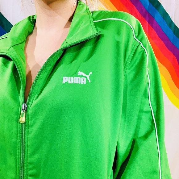 1e7daaef6c870 Lime Green Sporty Puma Tracksuit Zip Up Jacket